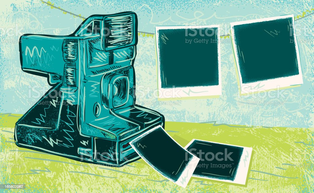 Retro instant camera with photo paper vector art illustration