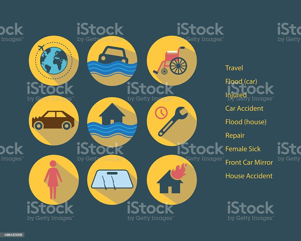 Retro Insurance Icon vector art illustration