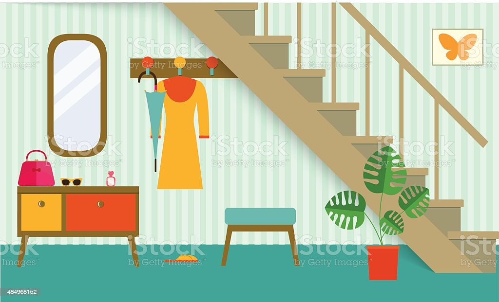 retro interior hallway under stair,vector illustration vector art illustration