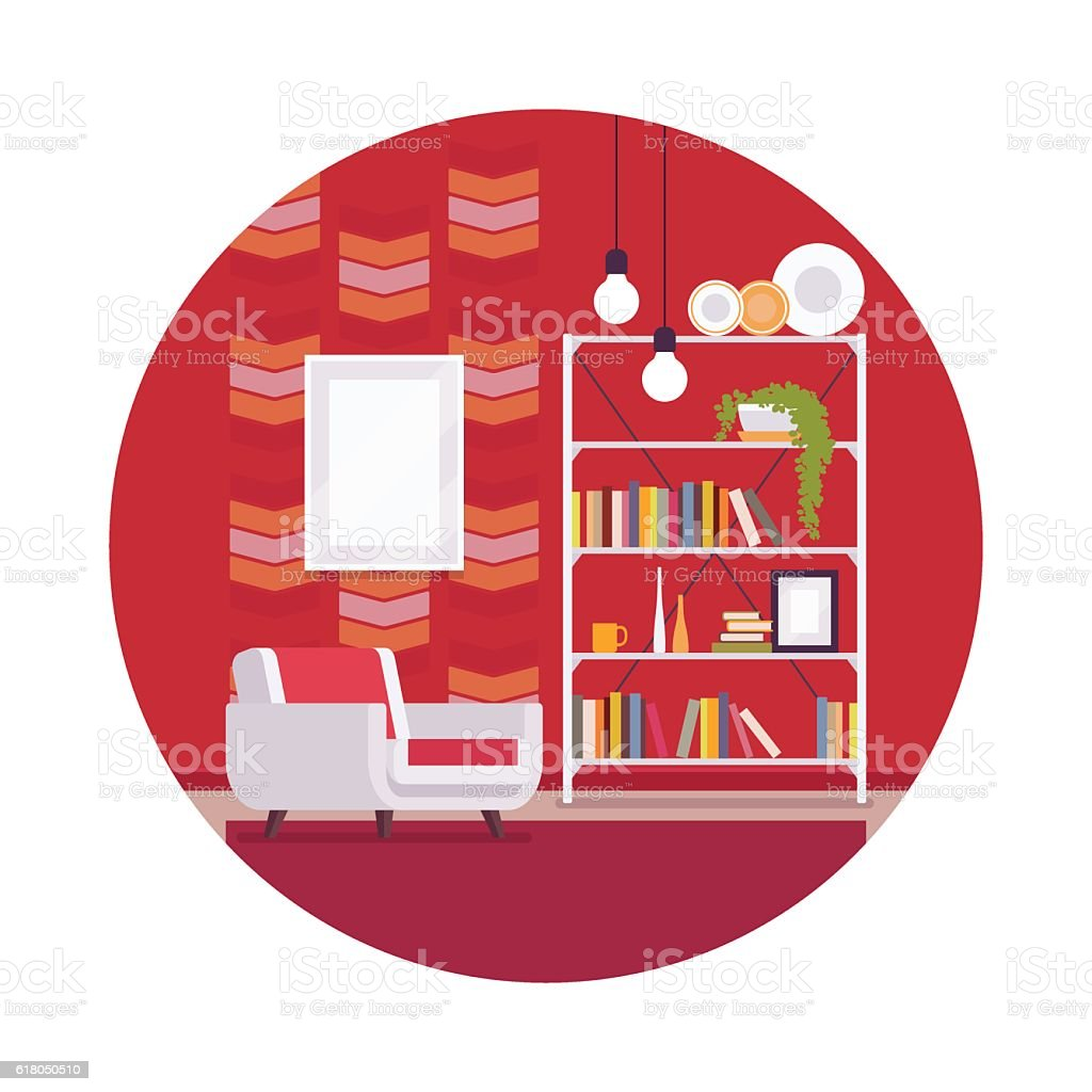 Retro interior with red walls in a circle vector art illustration