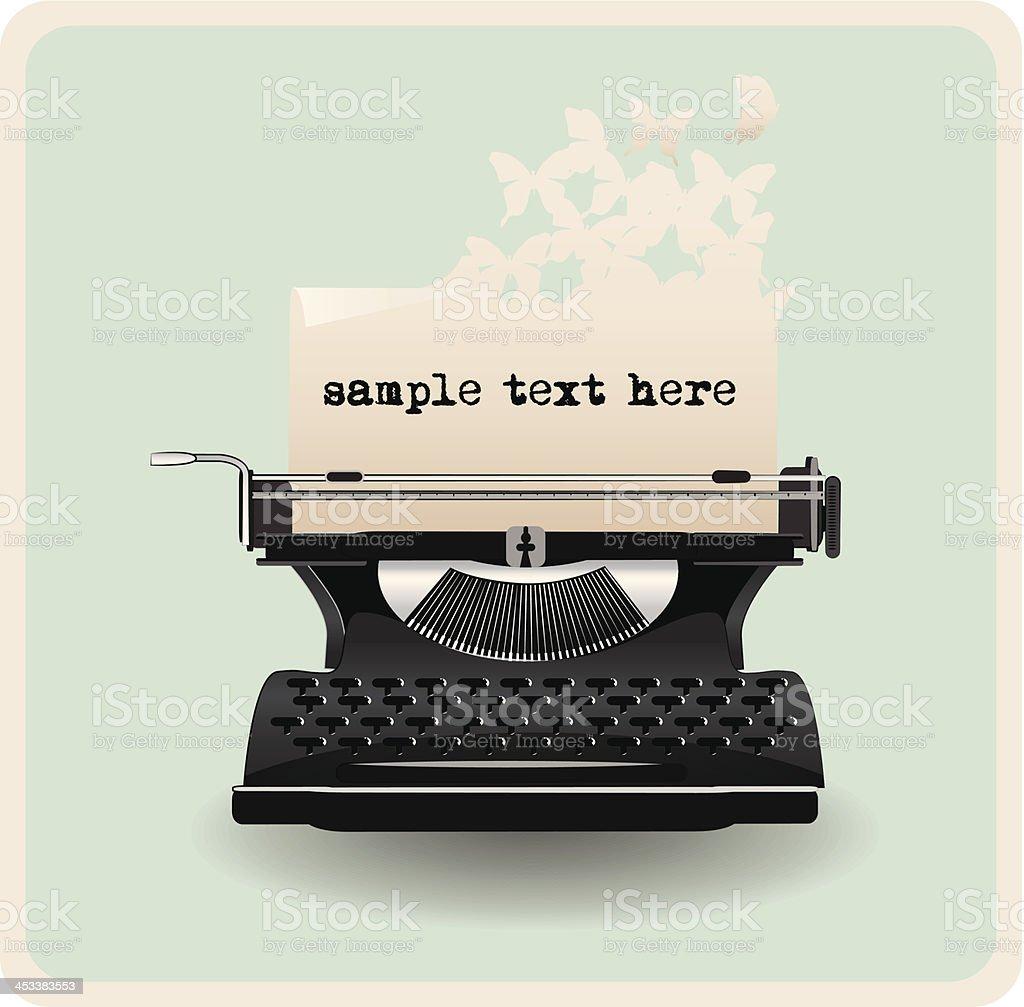 retro invitation card with typewriter royalty-free stock vector art