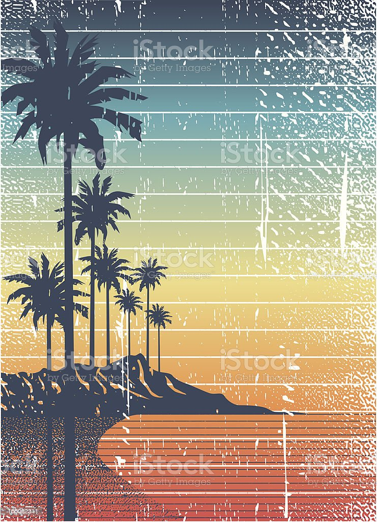 retro island vector art illustration