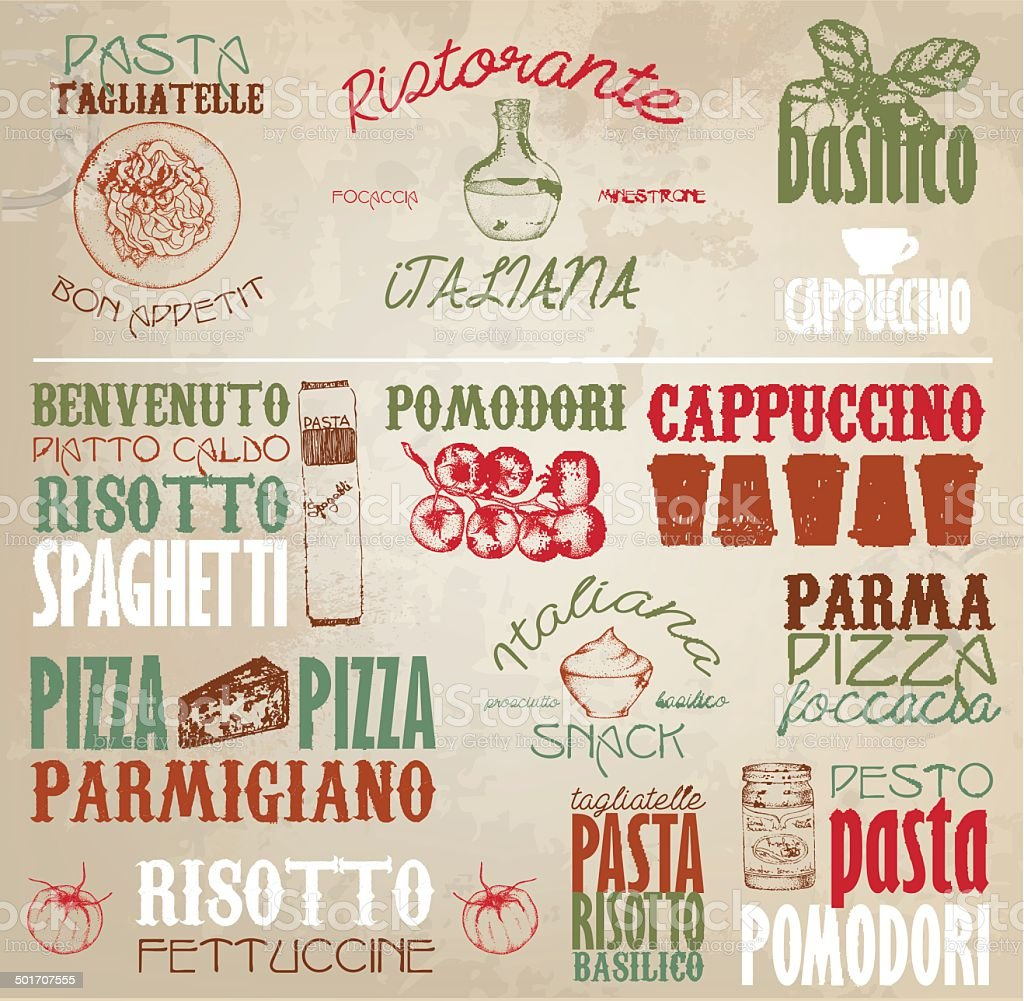 Retro Italy labels vector art illustration