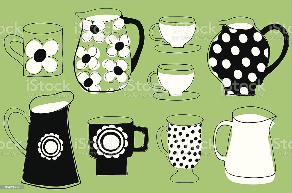 Retro jugs and mugs collection. royalty-free stock vector art