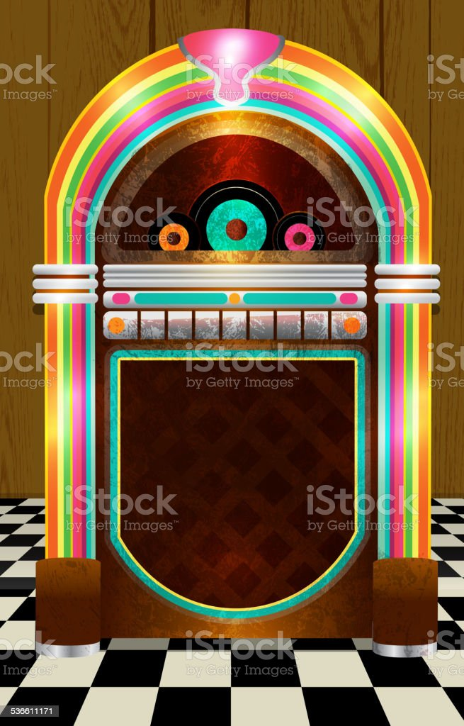 Retro Jukebox on checkered tile background no text vector art illustration