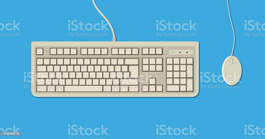 retro Keyboard and Mouse vector art illustration