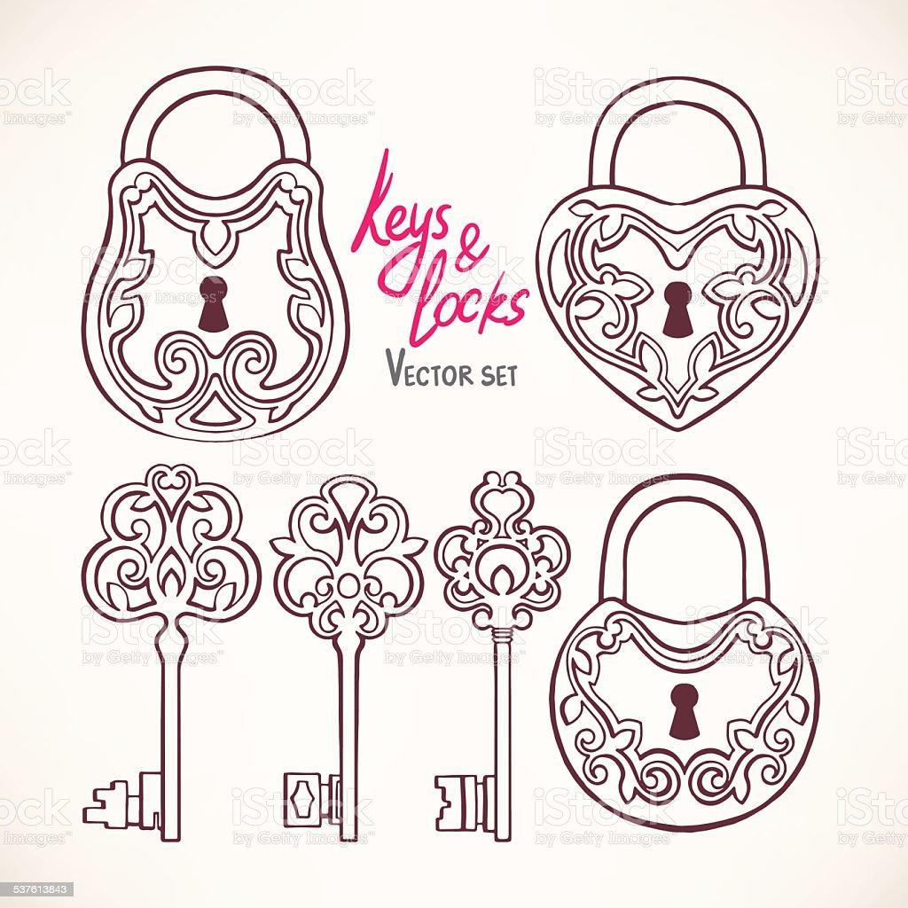 retro keys and locks vector art illustration