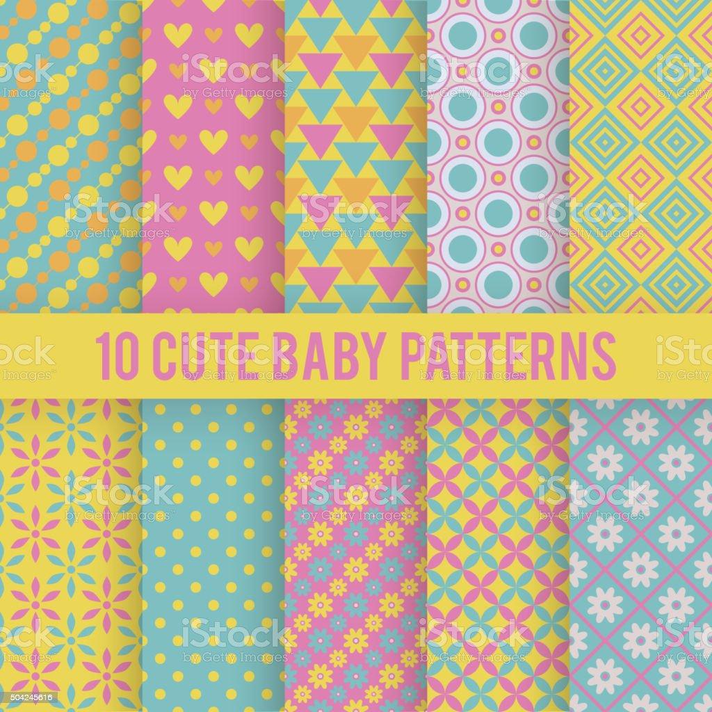 Retro kids vector seamless patterns. Endless texture vector art illustration