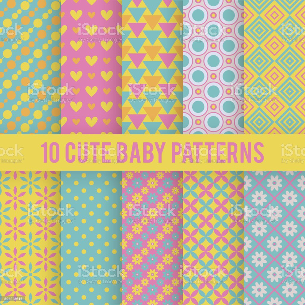Retro kids vector seamless patterns. Endless texture vector art illustration