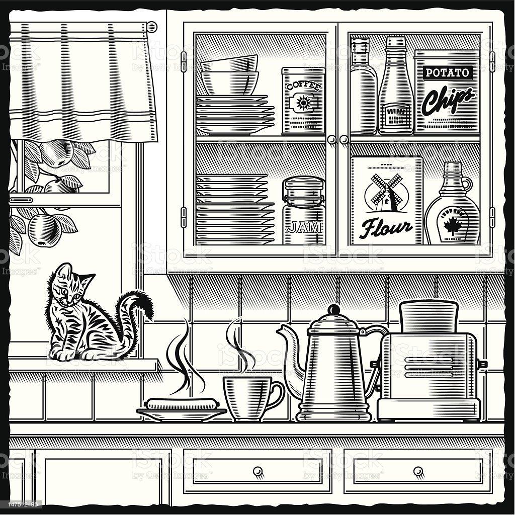 Retro kitchen black and white vector art illustration