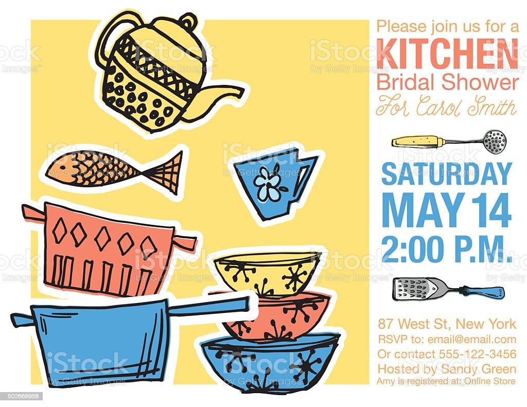 Retro Kitchen Bridal Shower Invitation Template vector art illustration