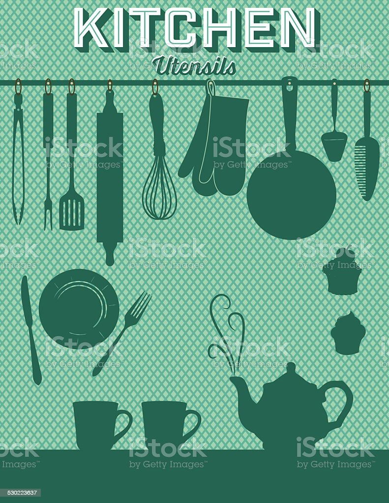 Retro Kitchen Gadgets Background Green vector art illustration