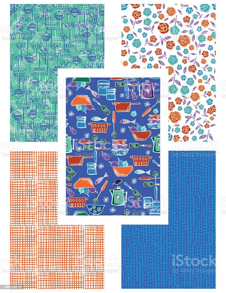 Retro kitschy Kitchen Seamless Pattern Set vector art illustration