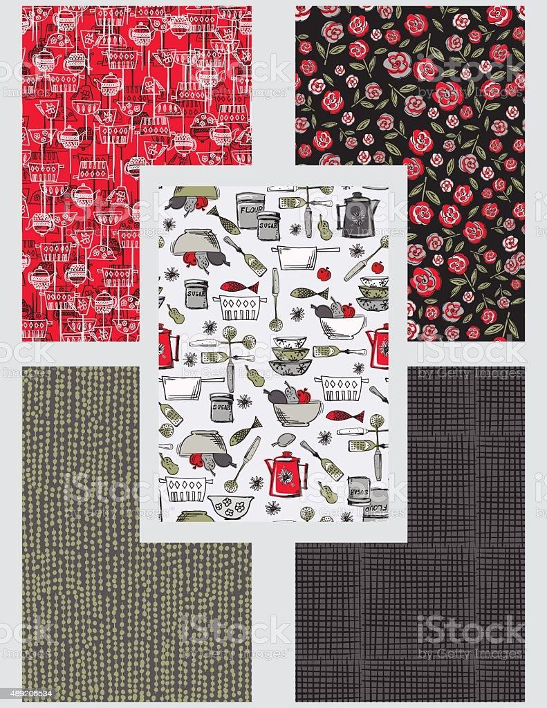 Retro kitschy Kitchen Seamless Pattern Set vector art illustration