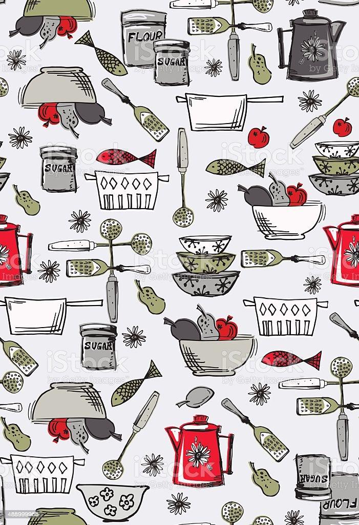 Retro kitschy Kitchen Seamless Pattern vector art illustration