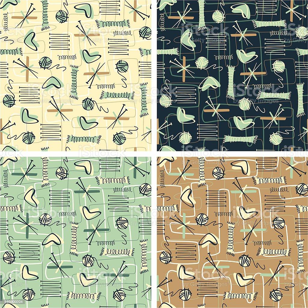 Retro Knitting Patterns vector art illustration