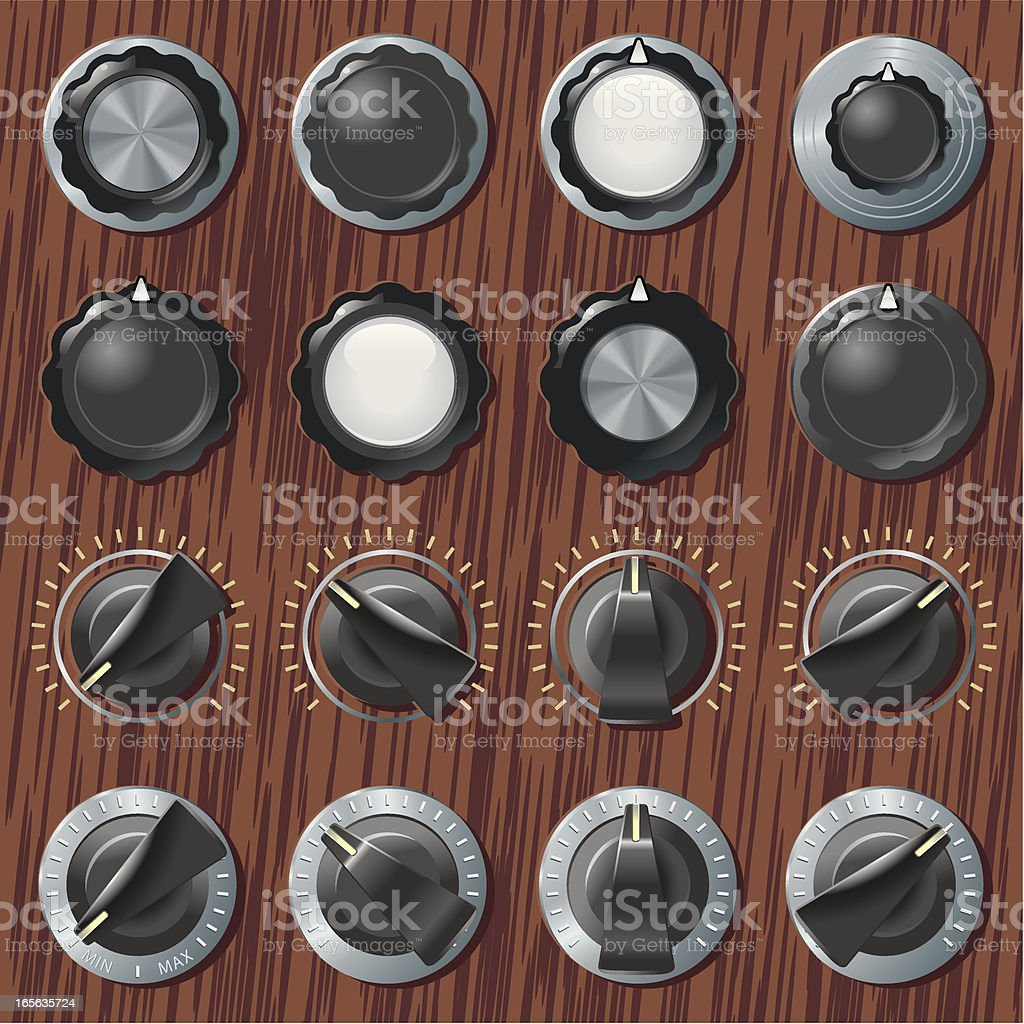 Retro knobs and switches on wood vector art illustration