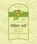Retro label for oil with green olive branch. Vector illustration.