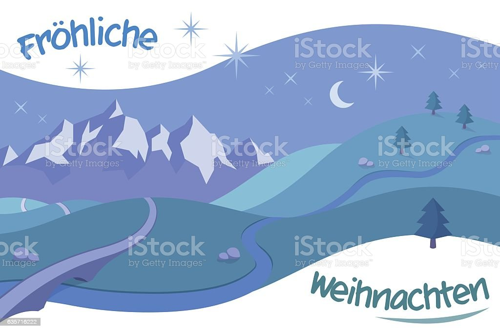 Retro Landscape with Christmas Greetings in German vector art illustration