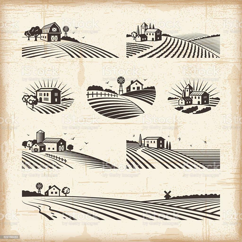 Retro landscapes vector art illustration