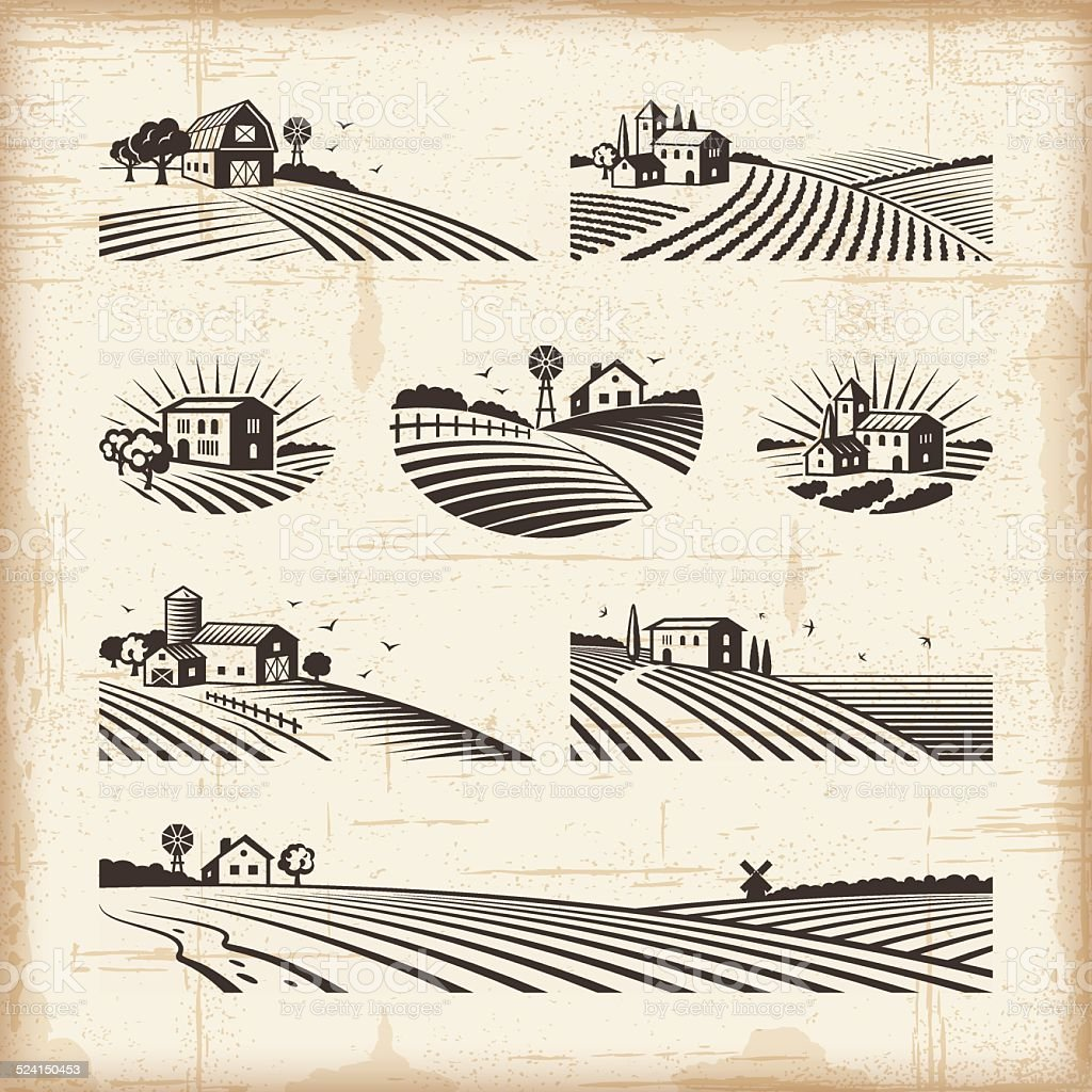 Retro landscapes vector art illustration