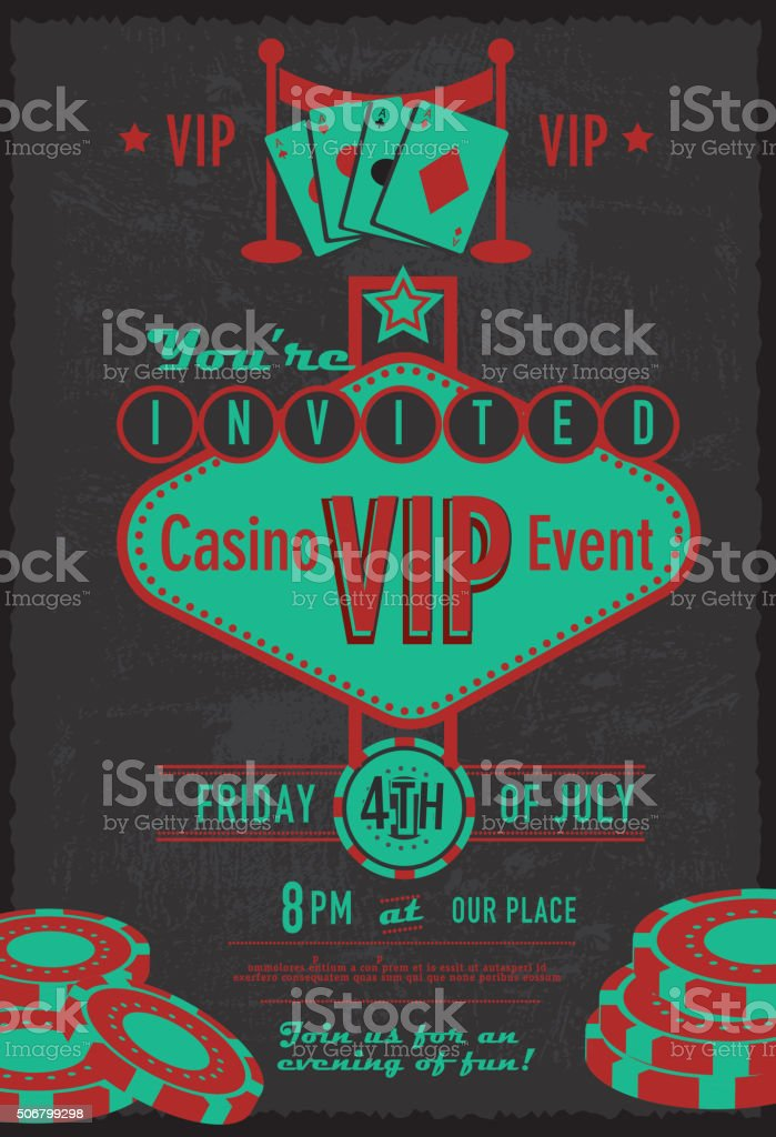 Retro Las Vegas sign VIP Casino invitation design template vector art illustration
