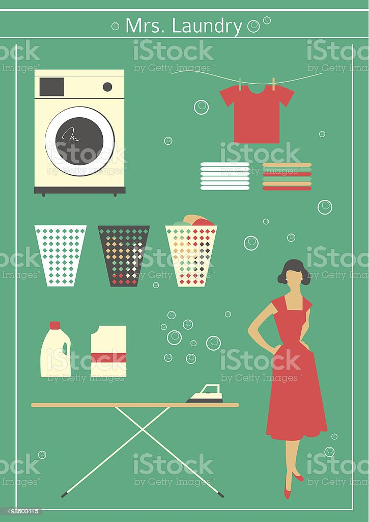 Retro laundry set vector art illustration