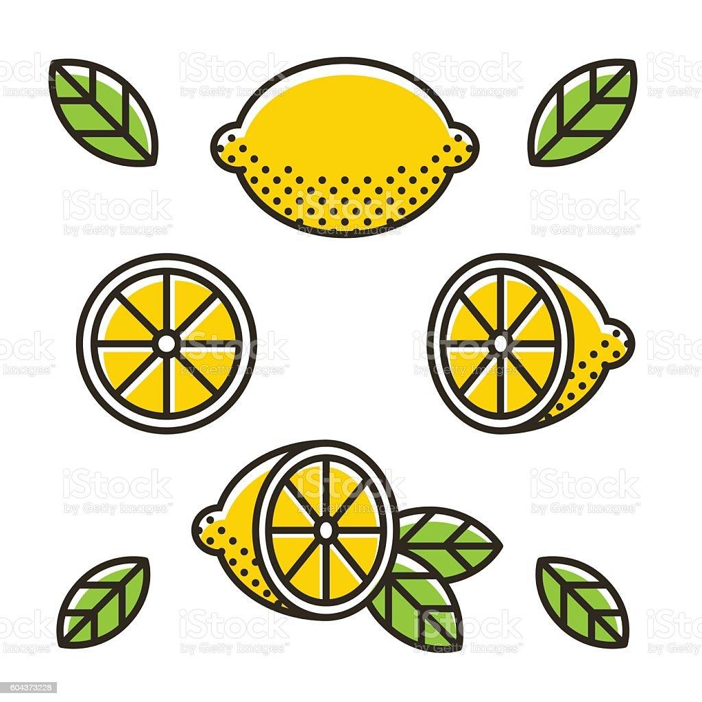 Retro lemon icon set vector art illustration