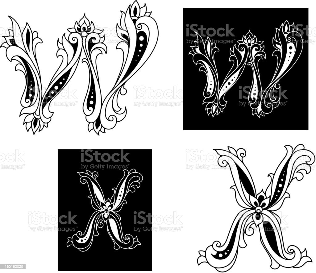 Retro letters W and X royalty-free stock vector art