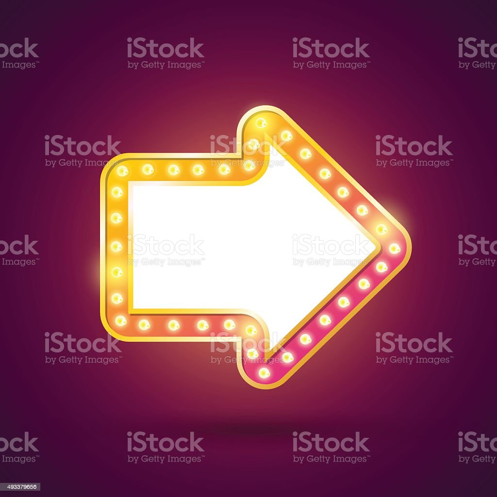 Retro light bulb arrow. vector art illustration
