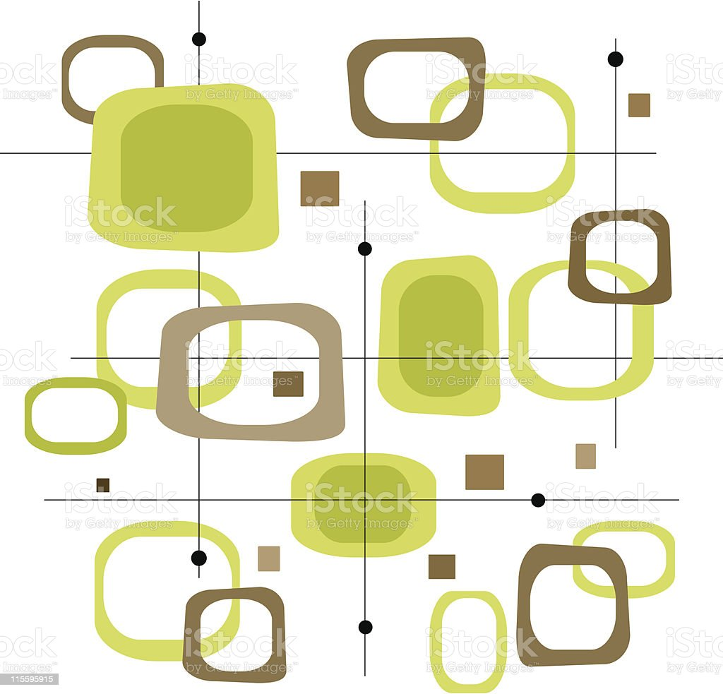 Retro Lime Green and Brown Squares (Vector) vector art illustration