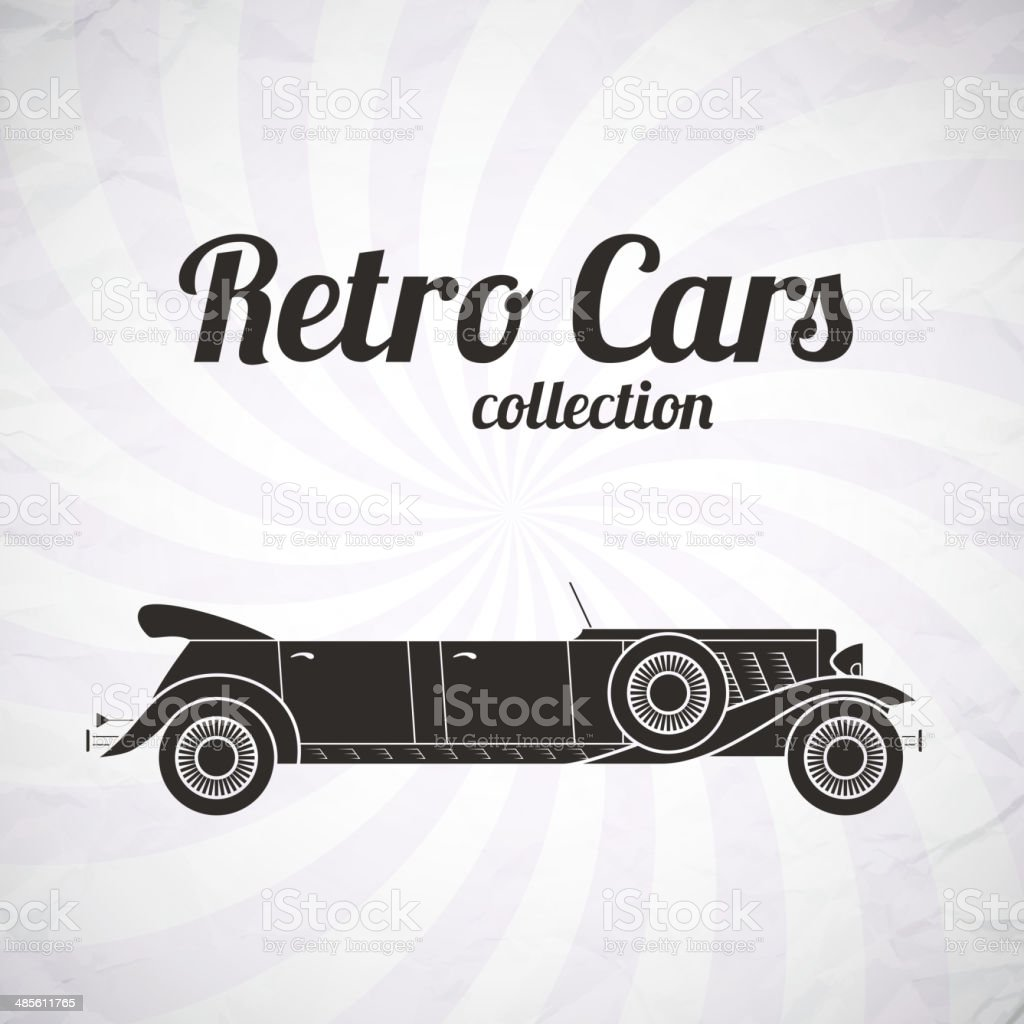 Retro limousine cabriolet car, vintage collection royalty-free stock vector art