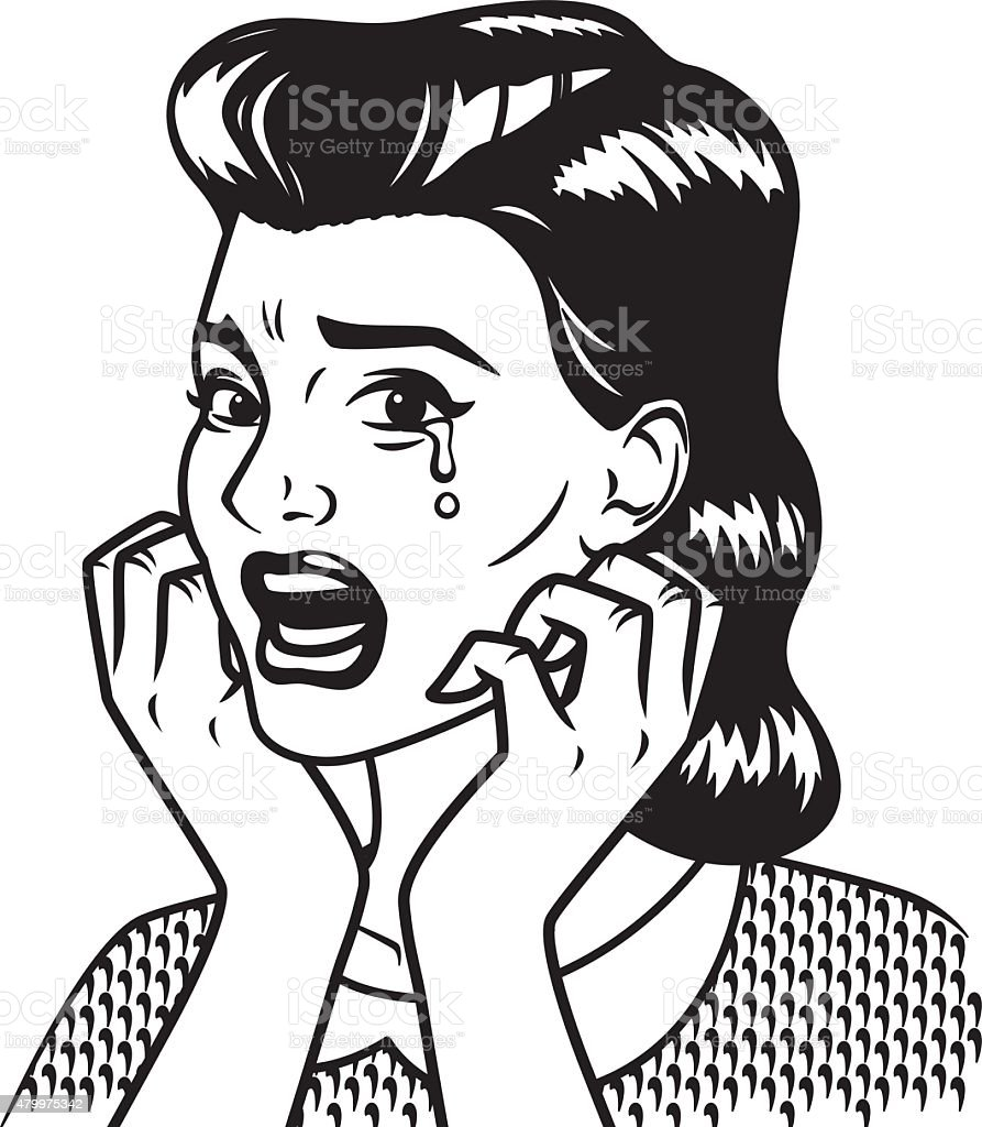 Retro Line Art Illustration of a Crying Woman vector art illustration