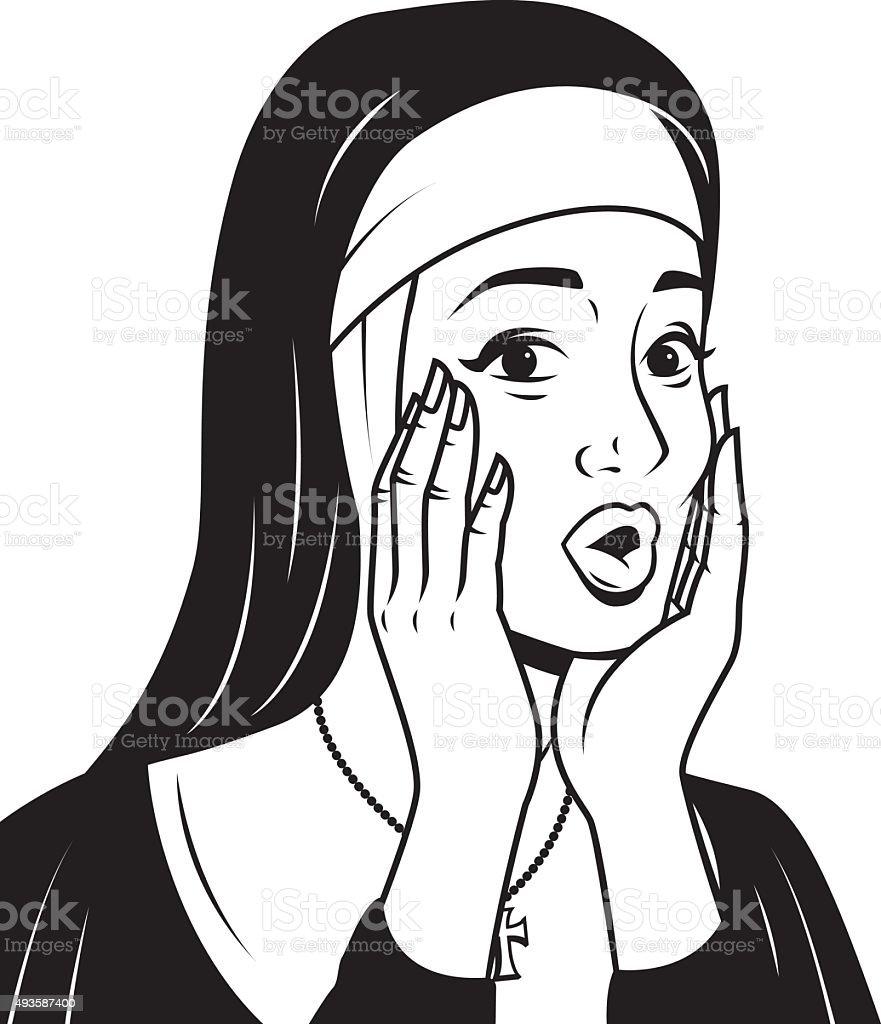 Retro Line Art Illustration of a Surprised Nun vector art illustration