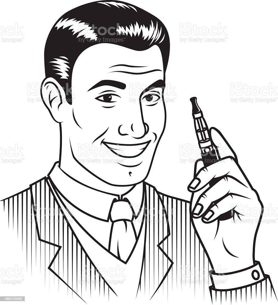 Retro Line Art Person Holding an Electronic Cigarette vector art illustration