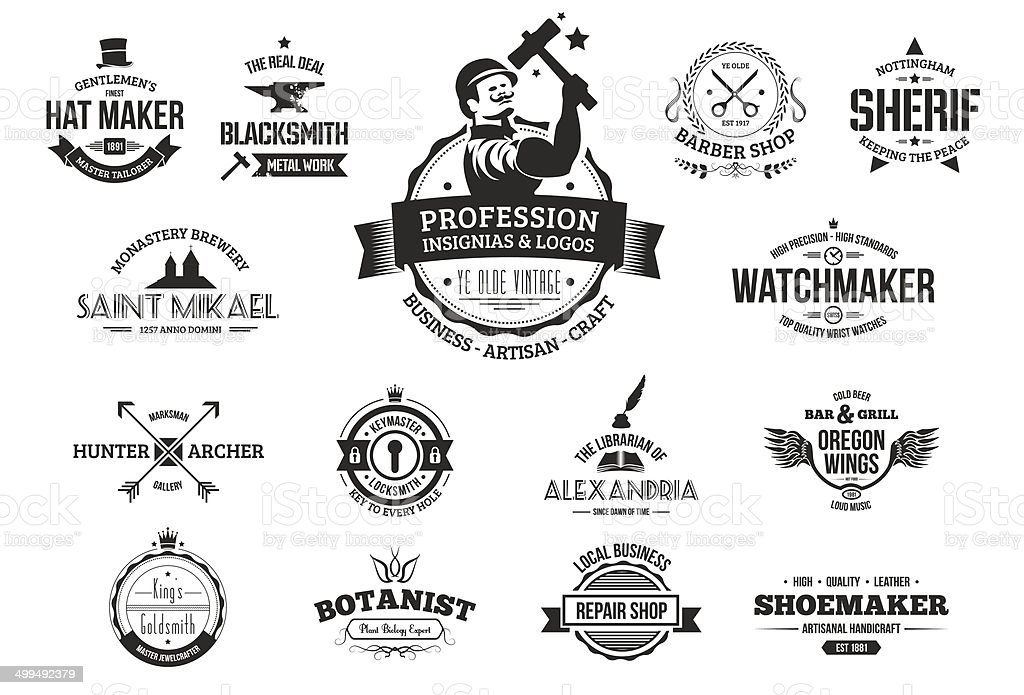 Retro logos for professions, business and artisans. vector art illustration