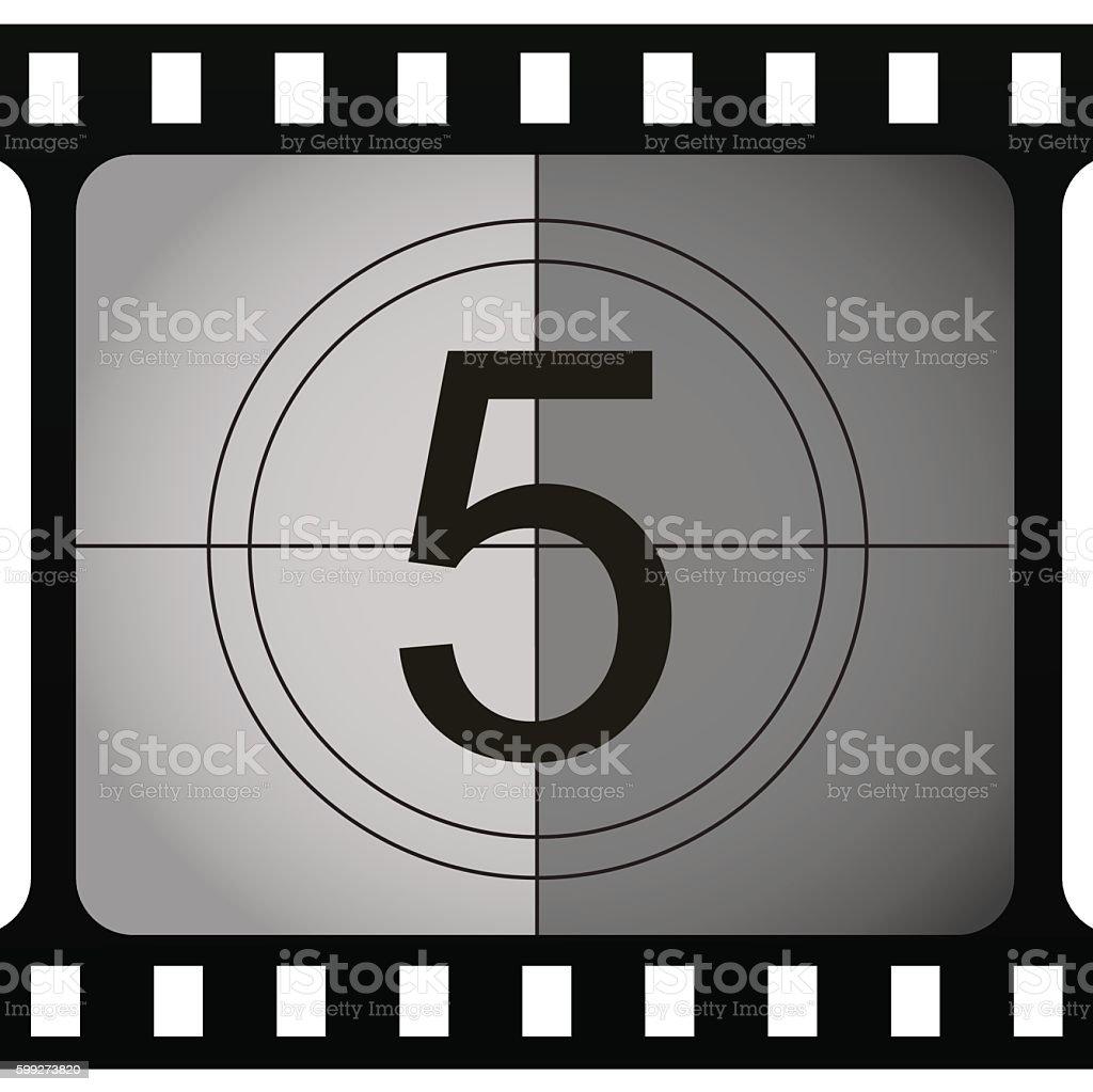Retro looking number in film frame. vector art illustration