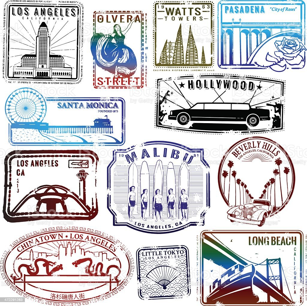 Retro Los Angeles stamp collection vector art illustration