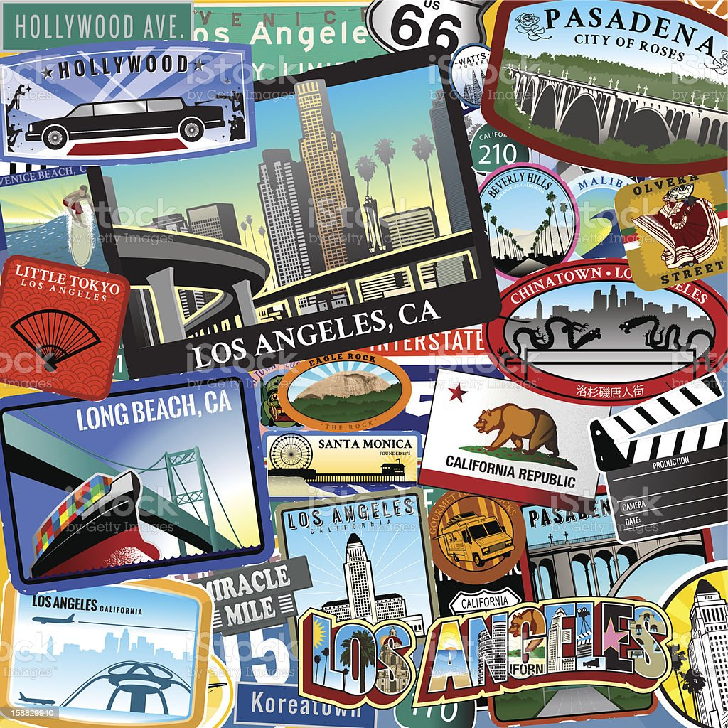 Retro Los Angeles Travel Location Collage vector art illustration