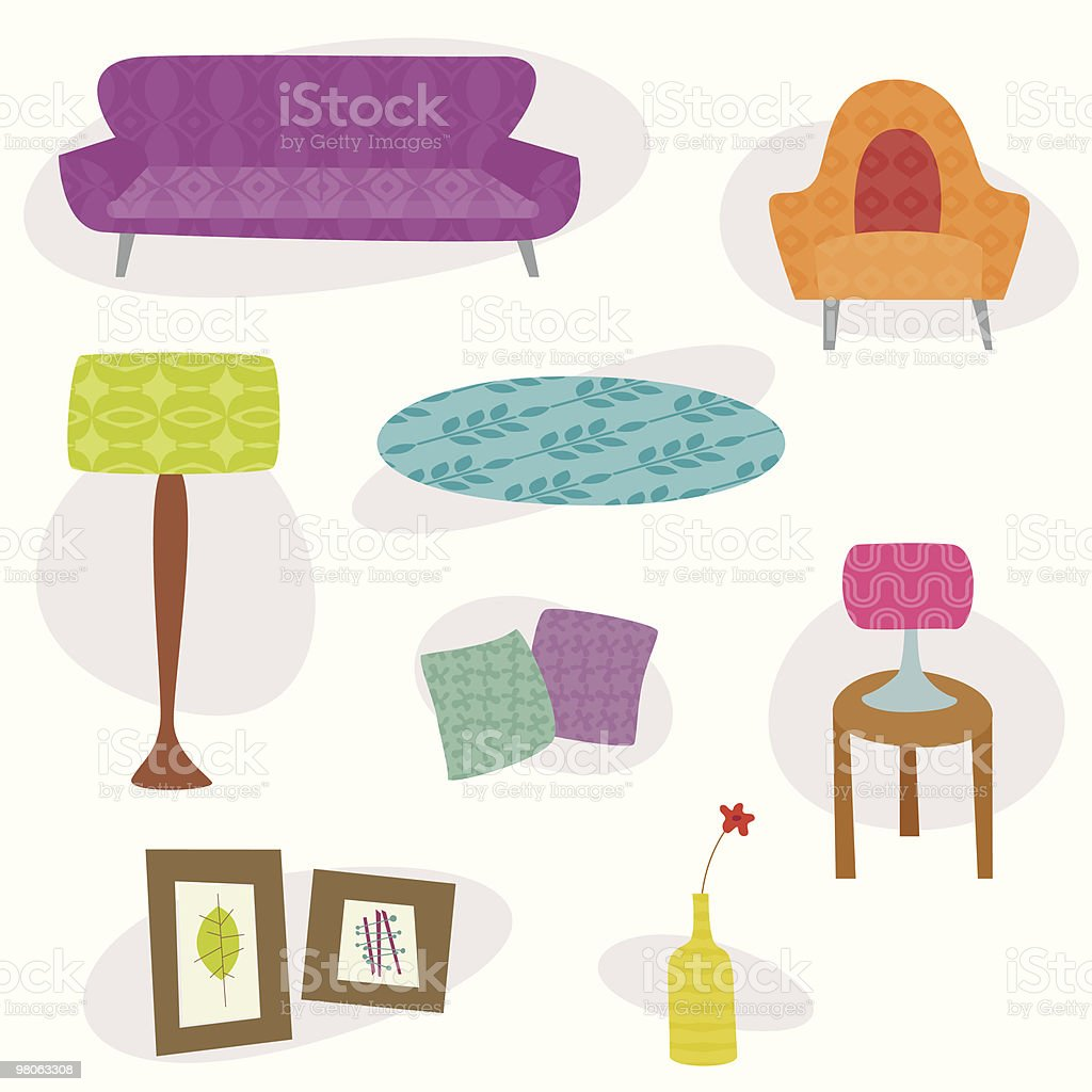 Retro lounge furniture royalty-free stock vector art