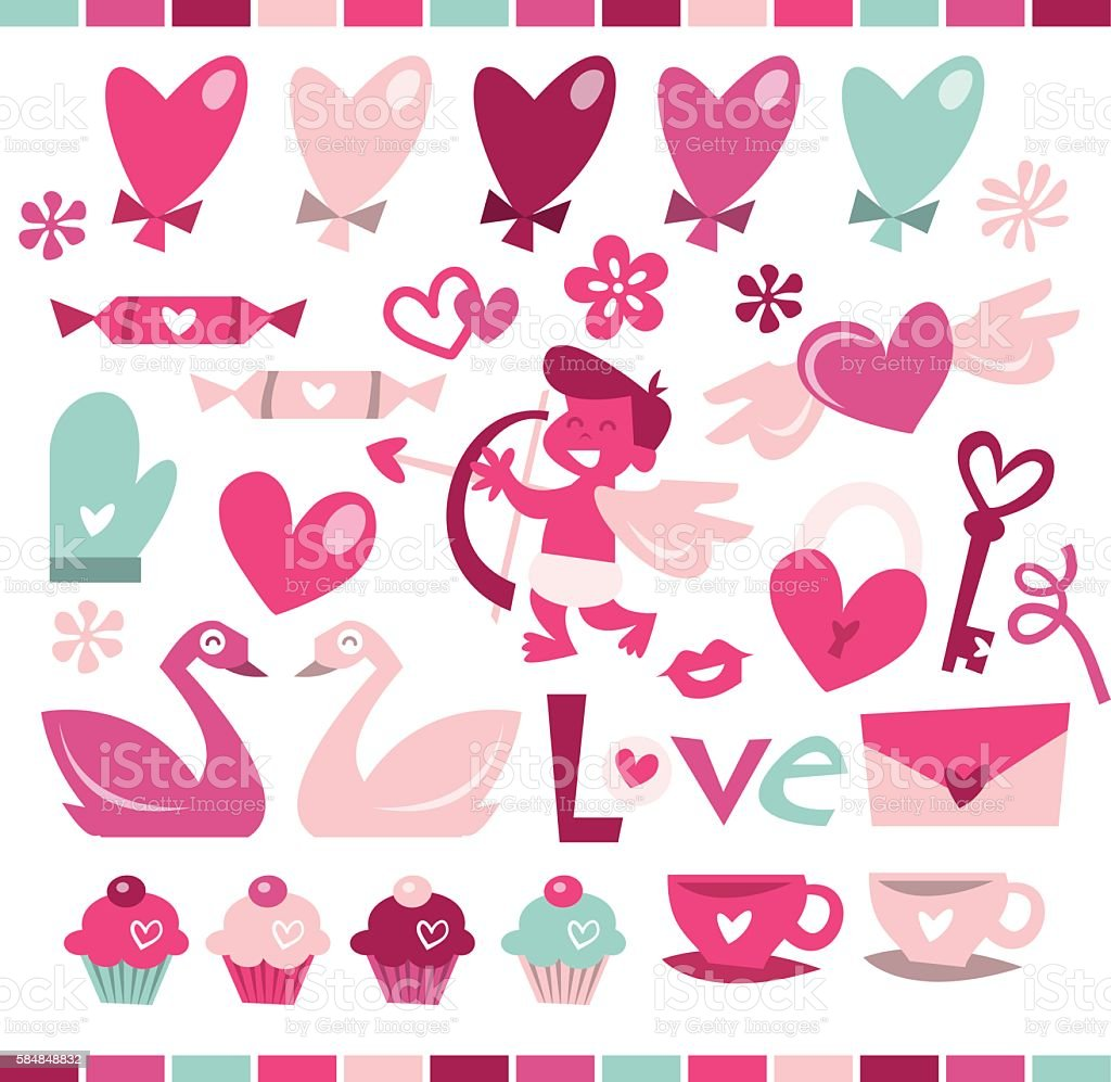Retro Love is In The Air vector art illustration