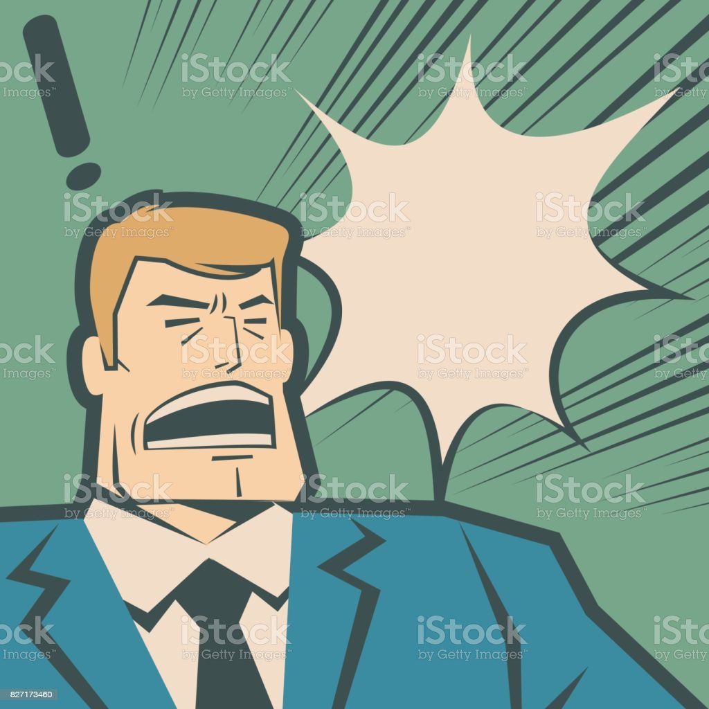 Retro macho businessman (man, police force) screaming and shouting vector art illustration