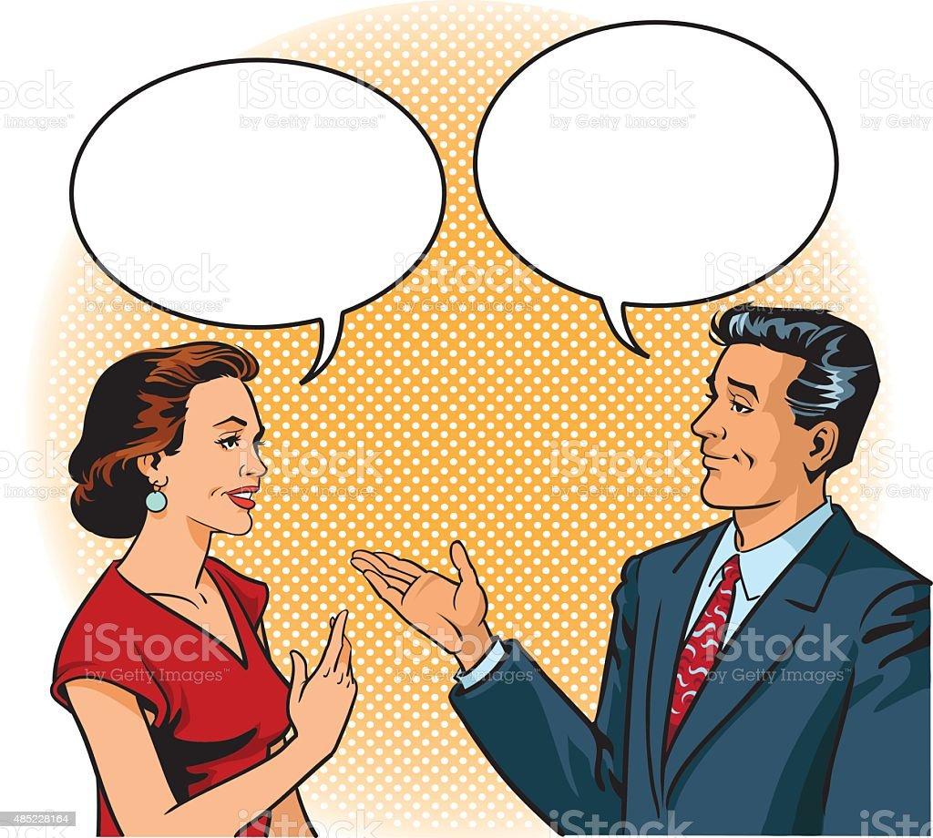 Retro Man and Woman Talking With Speech Balloons vector art illustration