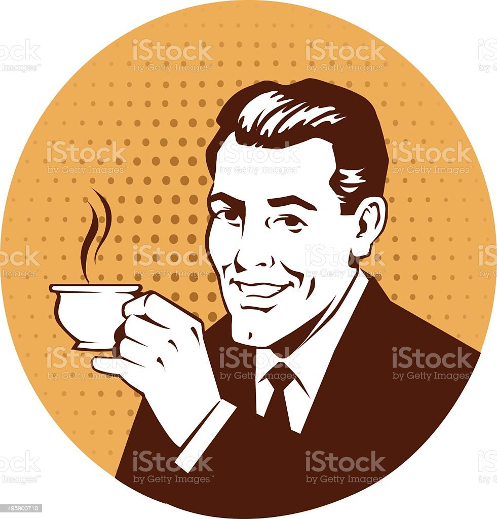 Retro Man Holding Cup of Coffee vector art illustration