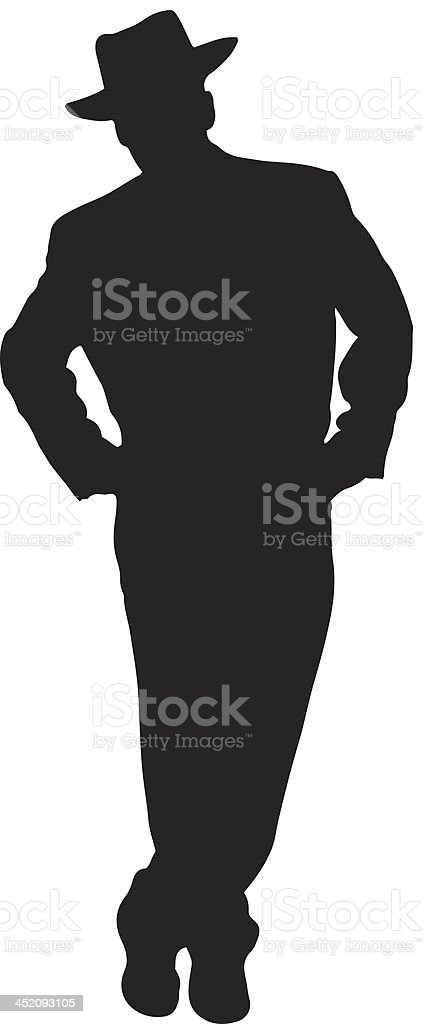 Retro man silhouette vector art illustration