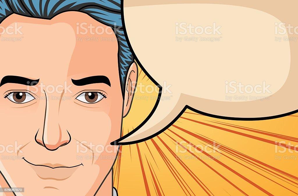 Retro man talking vector art illustration