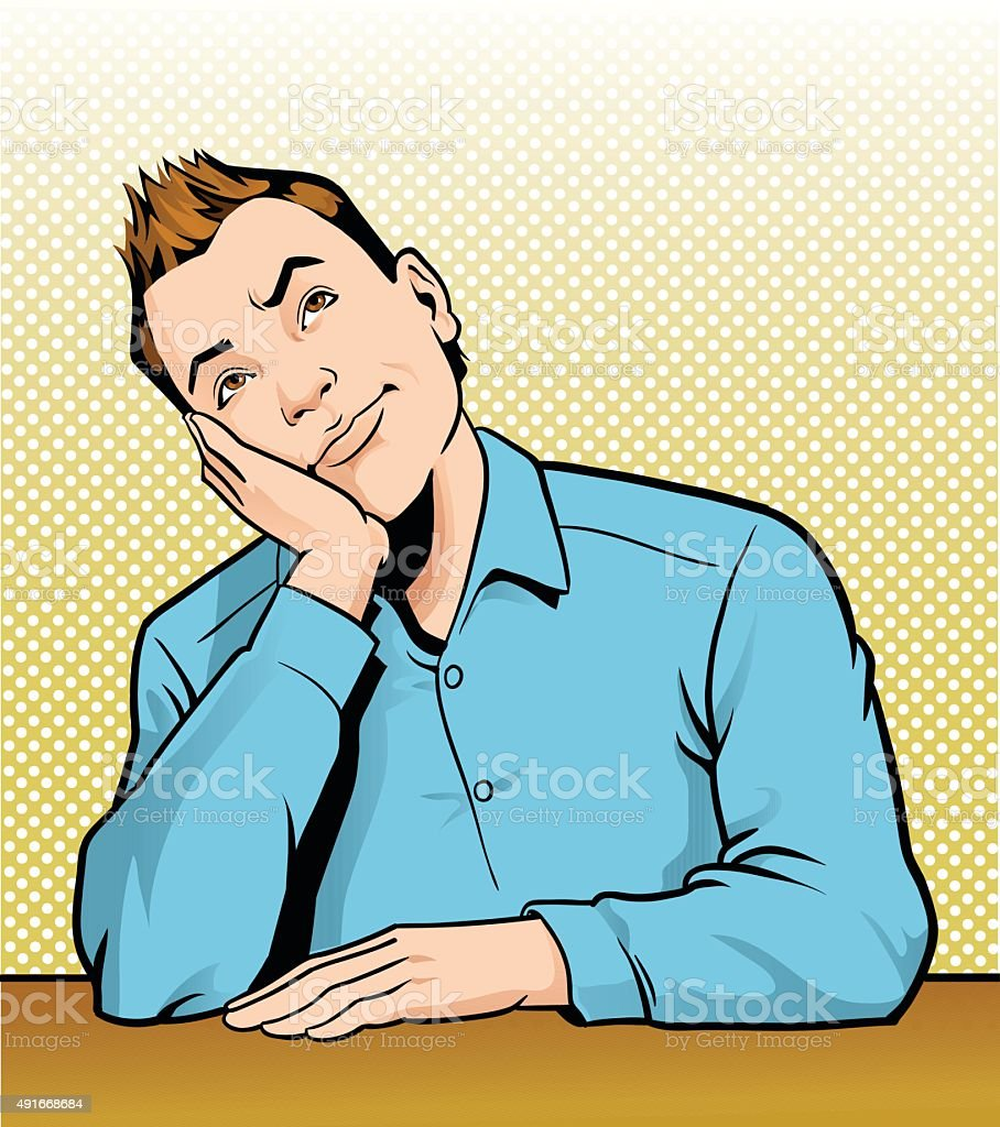 Retro Man Thinking and Daydreaming vector art illustration