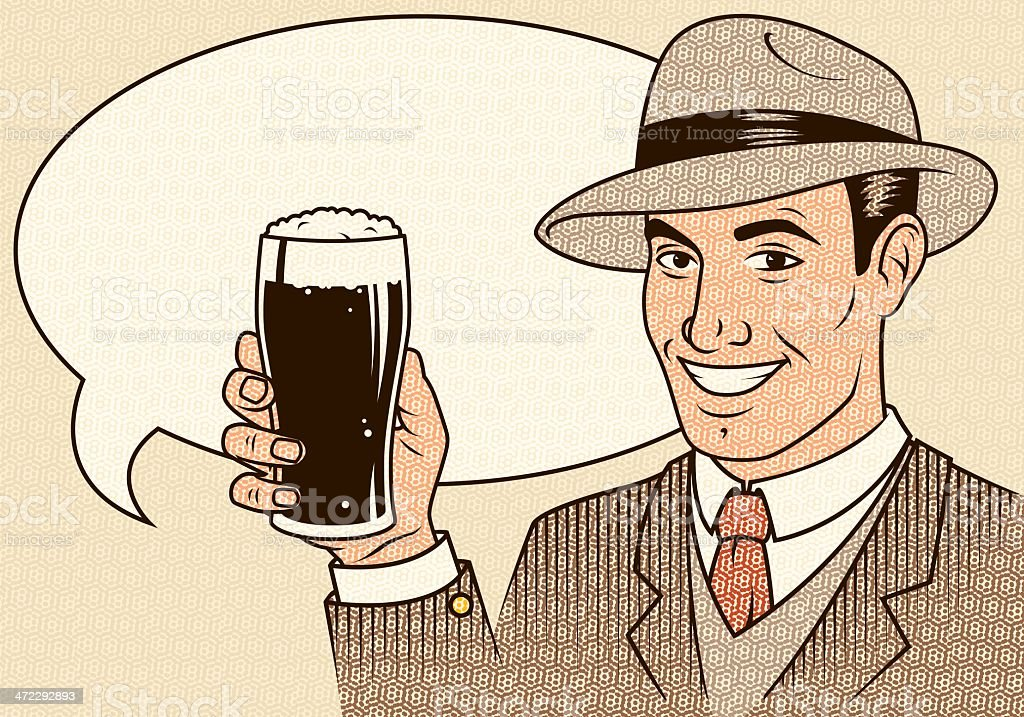 Retro Man with Beer royalty-free stock vector art