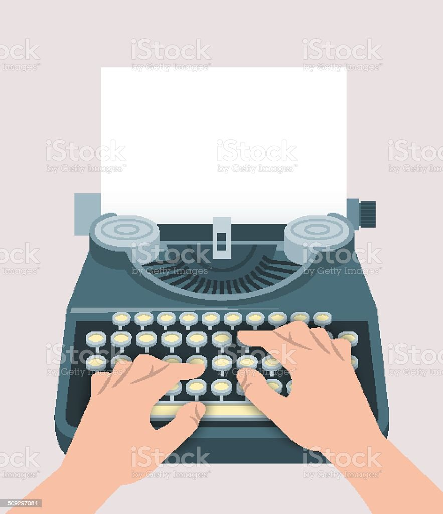 Retro manual typewriter with printing hands and sheet of paper vector art illustration