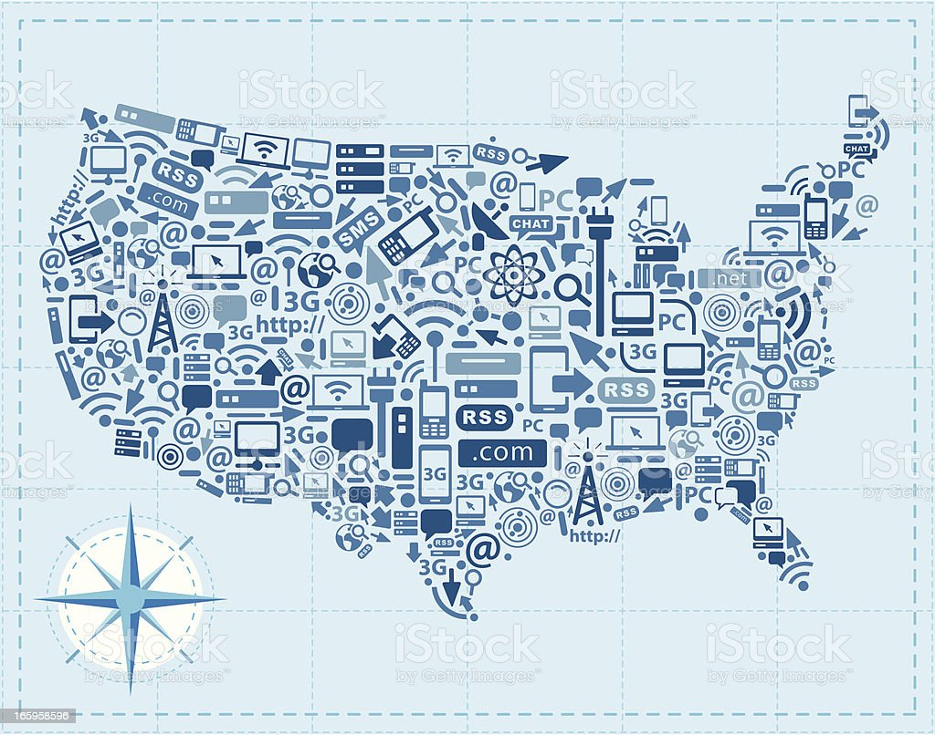 USA retro map using technology icons royalty-free stock vector art